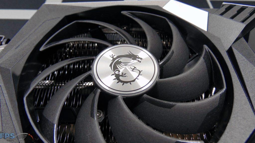 MSI Radeon RX 6600 XT GAMING X Video Card Closeup of Fan