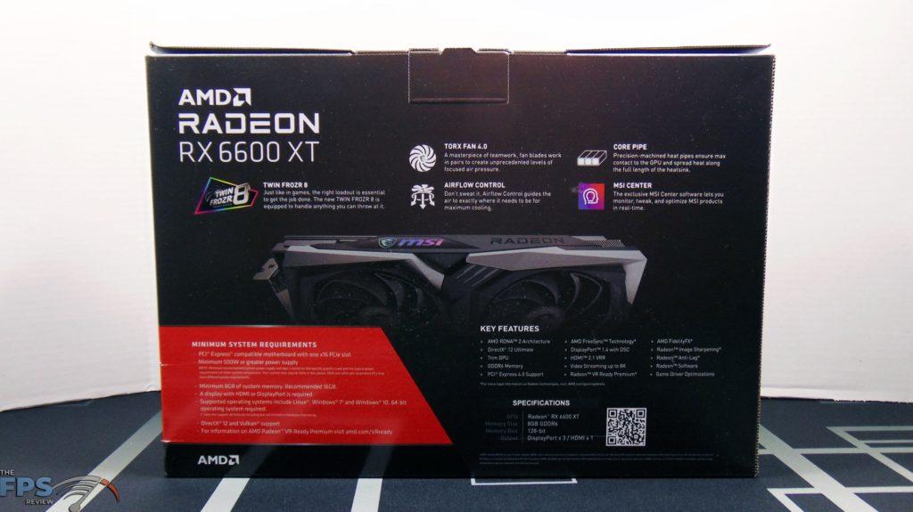 MSI Radeon RX 6600 XT GAMING X Video Card Box Back