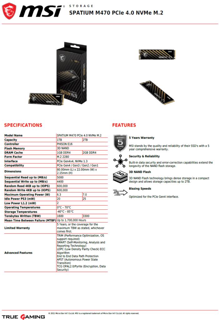 MSI SPATIUM M470 1TB PCIe 4.0 Gen4 NVMe SSD Datasheet