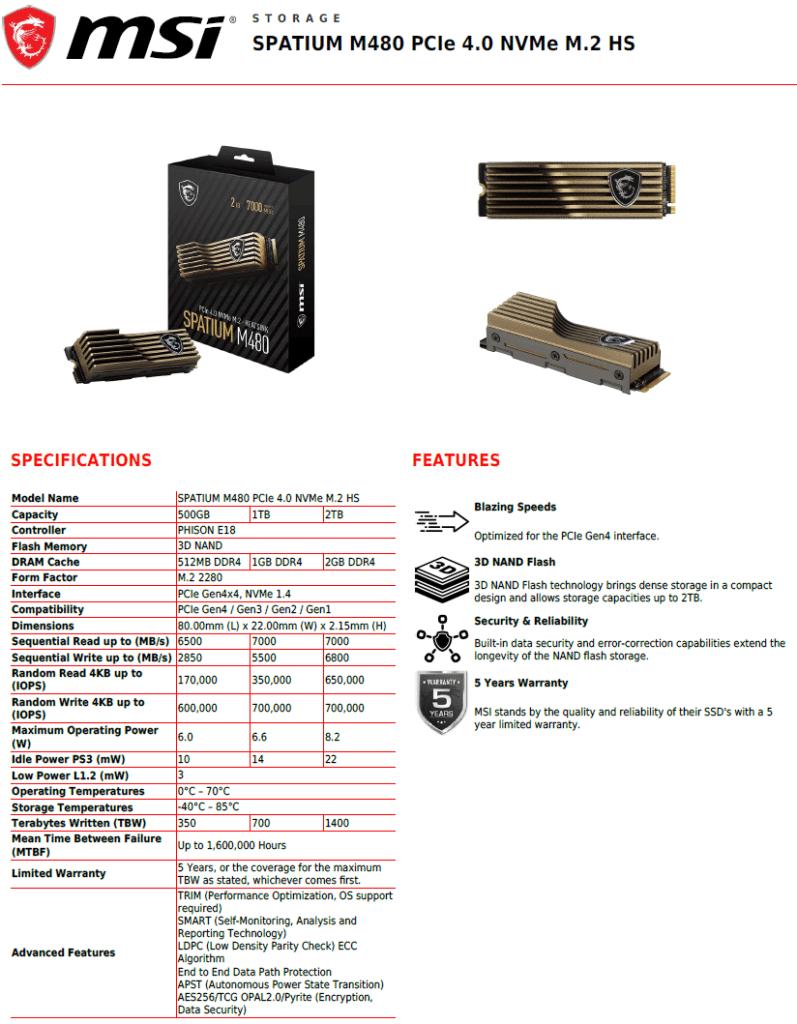 MSI SPATIUM M480 2TB HS PCIe 4.0 Gen4 NVMe SSD Datasheet