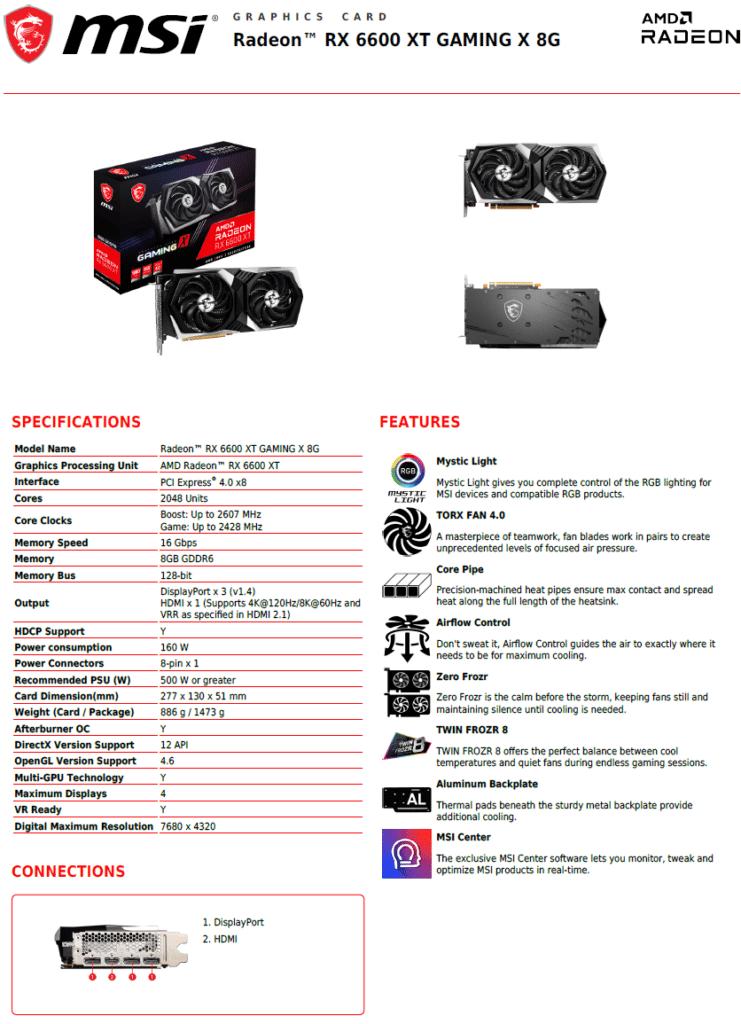 MSI Radeon RX 6600 XT GAMING X Datasheet
