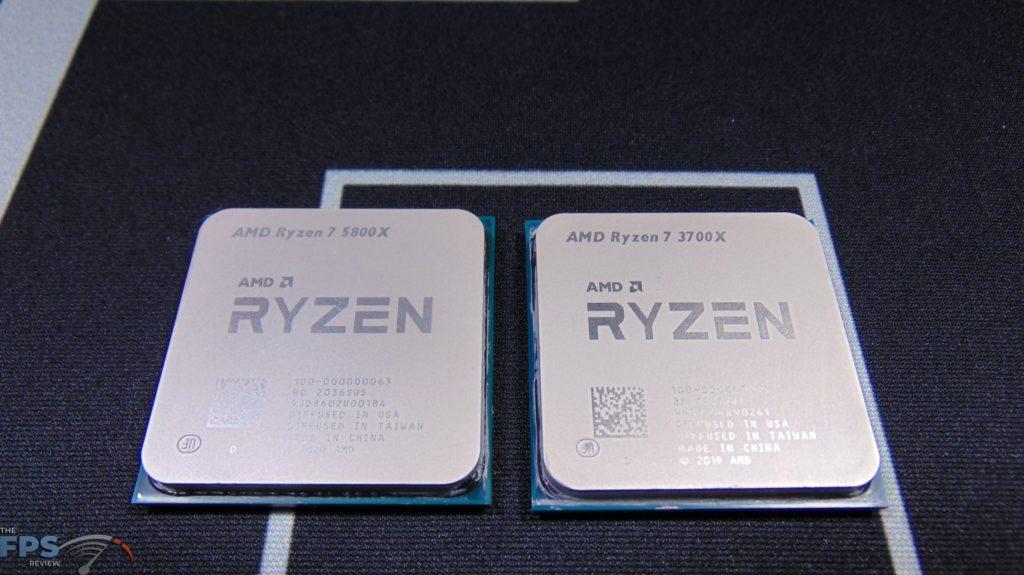 AMD Ryzen 7 3700X CPU side by side with AMD Ryzen 7 5800X CPU Top View