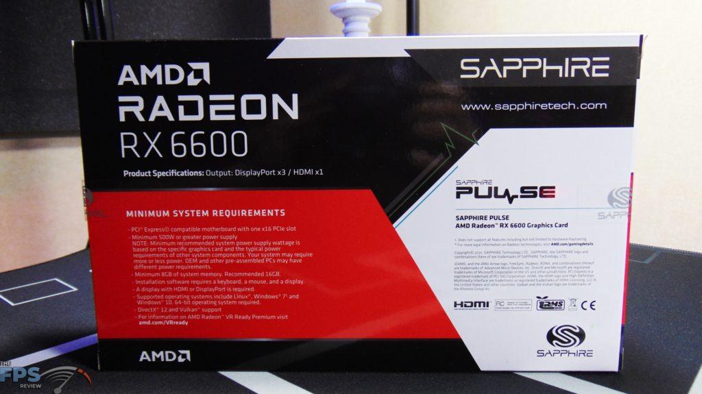 SAPPHIRE PULSE Radeon RX 6600 GAMING Video Card Box Back