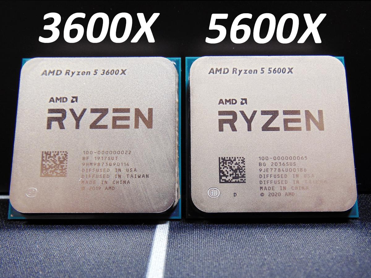 AMD Ryzen 5 3600X CPU and AMD Ryzen 5 5600X CPU side by side