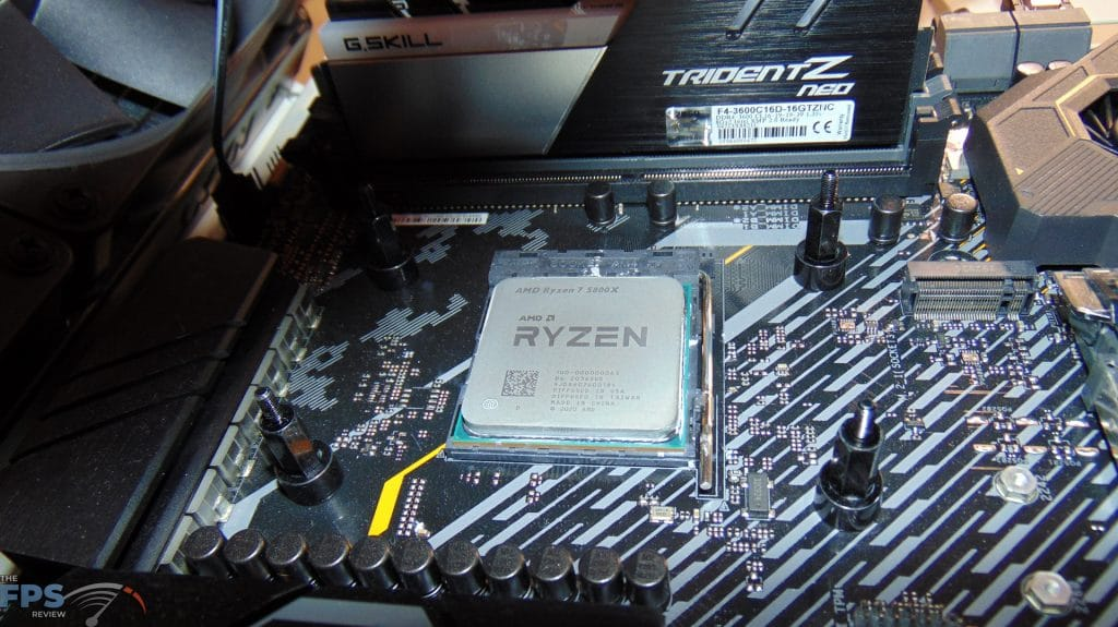 AMD Ryzen 7 5800X CPU installed in motherboard AM4 socket