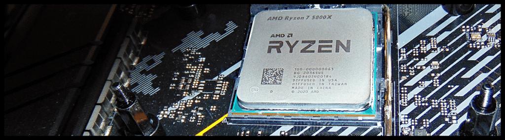 AMD Ryzen 7 5800X CPU Installed in Motherboard CPU Socket Closeup