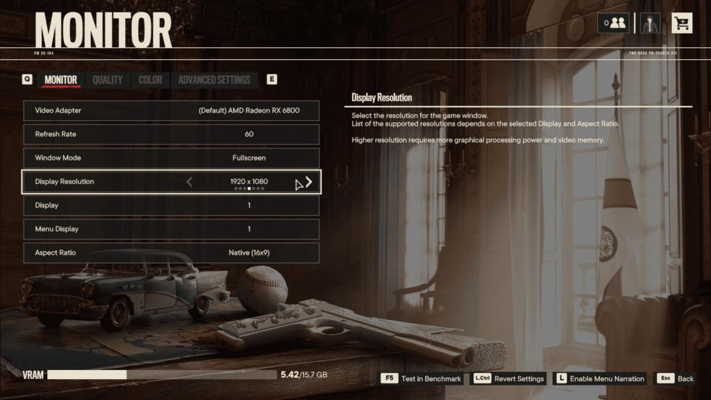 Far Cry 6 Monitor Graphics Menu