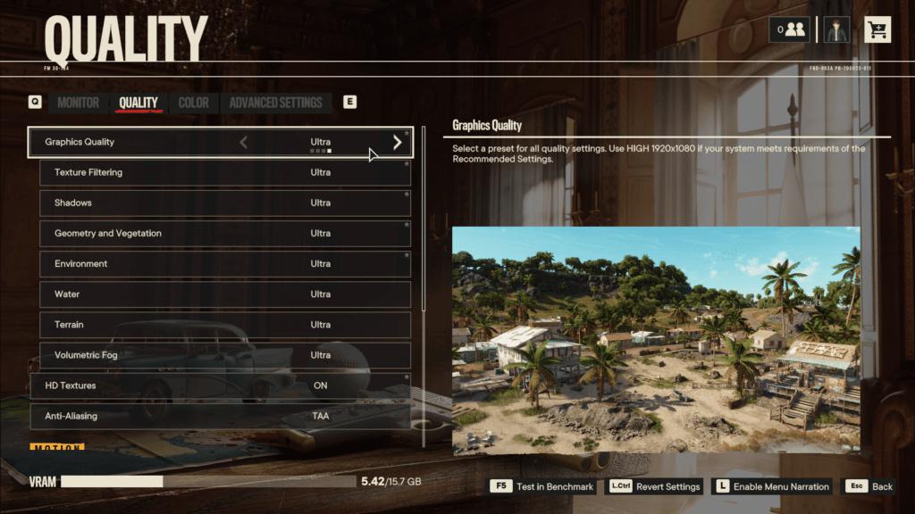 Far Cry 6 Quality Graphics Menu