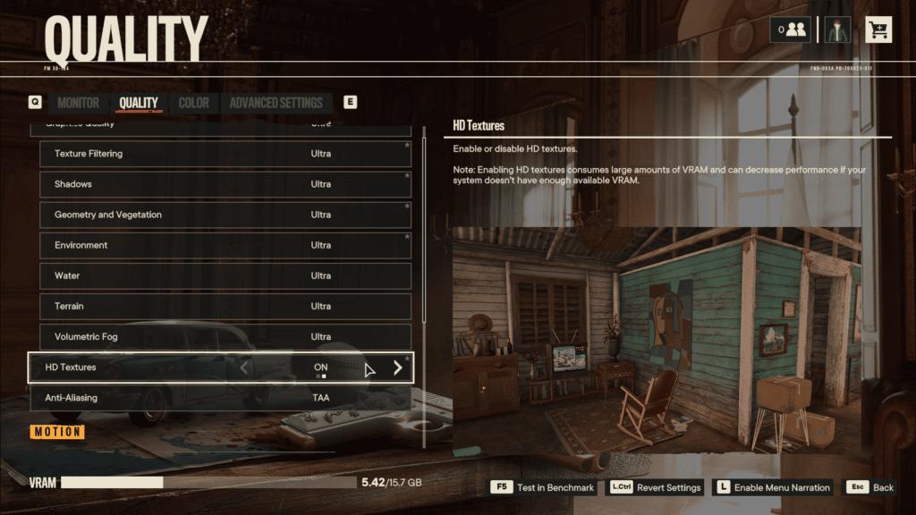 Far Cry 6 HD Textures Graphics Menu
