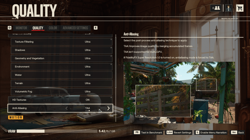 Far Cry 6 Anti-Aliasing Graphics Menu