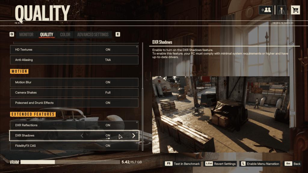Far Cry 6 DXR Shadows Graphics Menu