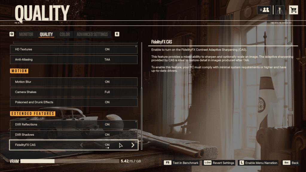 Far Cry 6 AMD FidelityFX CAS Graphics Menu